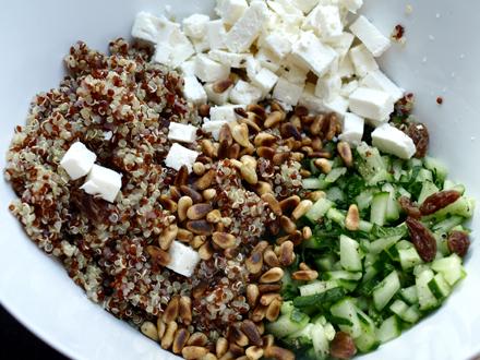 Ingrédients taboulé quinoa feta (sans glunte)