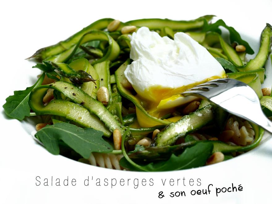 Salade d'asperges vertes crues et son oeuf poché