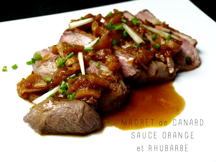 Magret de canard, sauce orange-rhubarbe