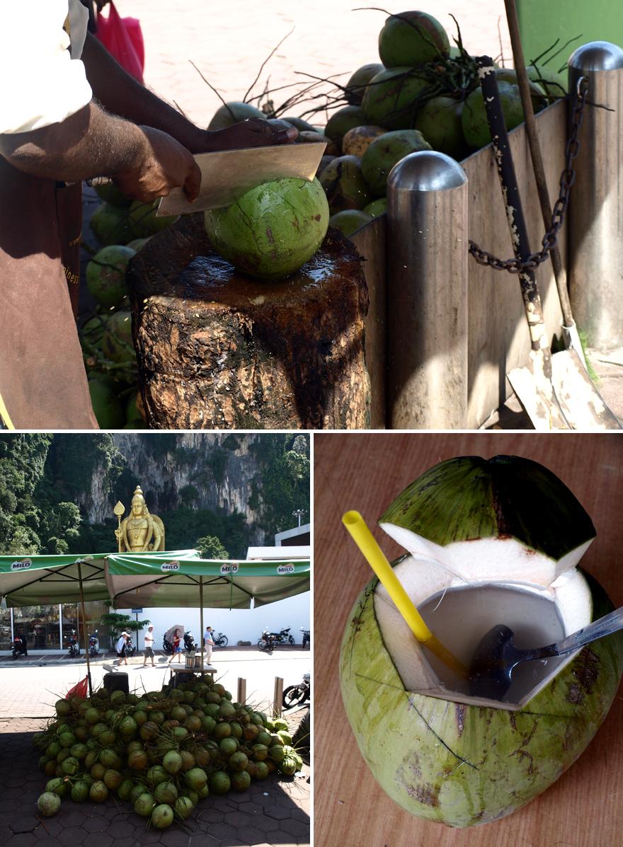 Préparation de la noix de coco fraîche aux Batu Caves