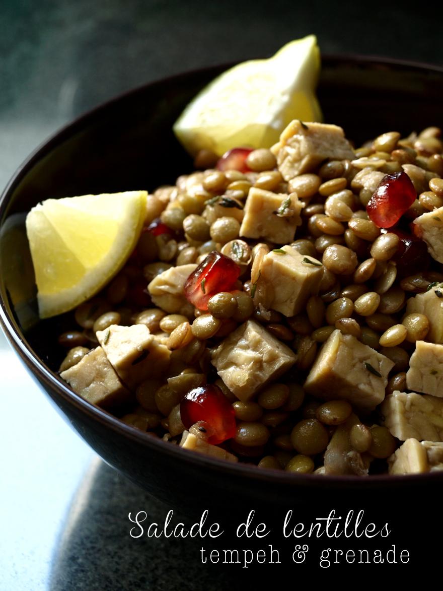 Salade de lentilles au tempeh