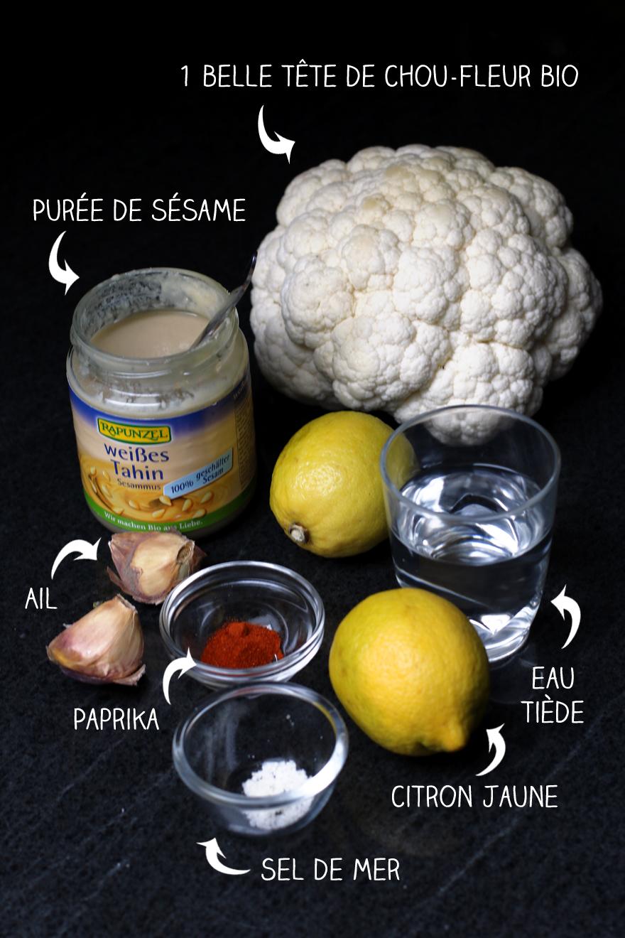 Ingrédients chou-fleur rôti au four