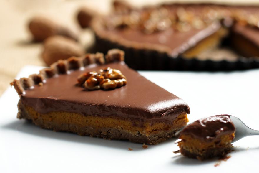Tarte au potiron et au chocolat (sans gluten, sans lactose)