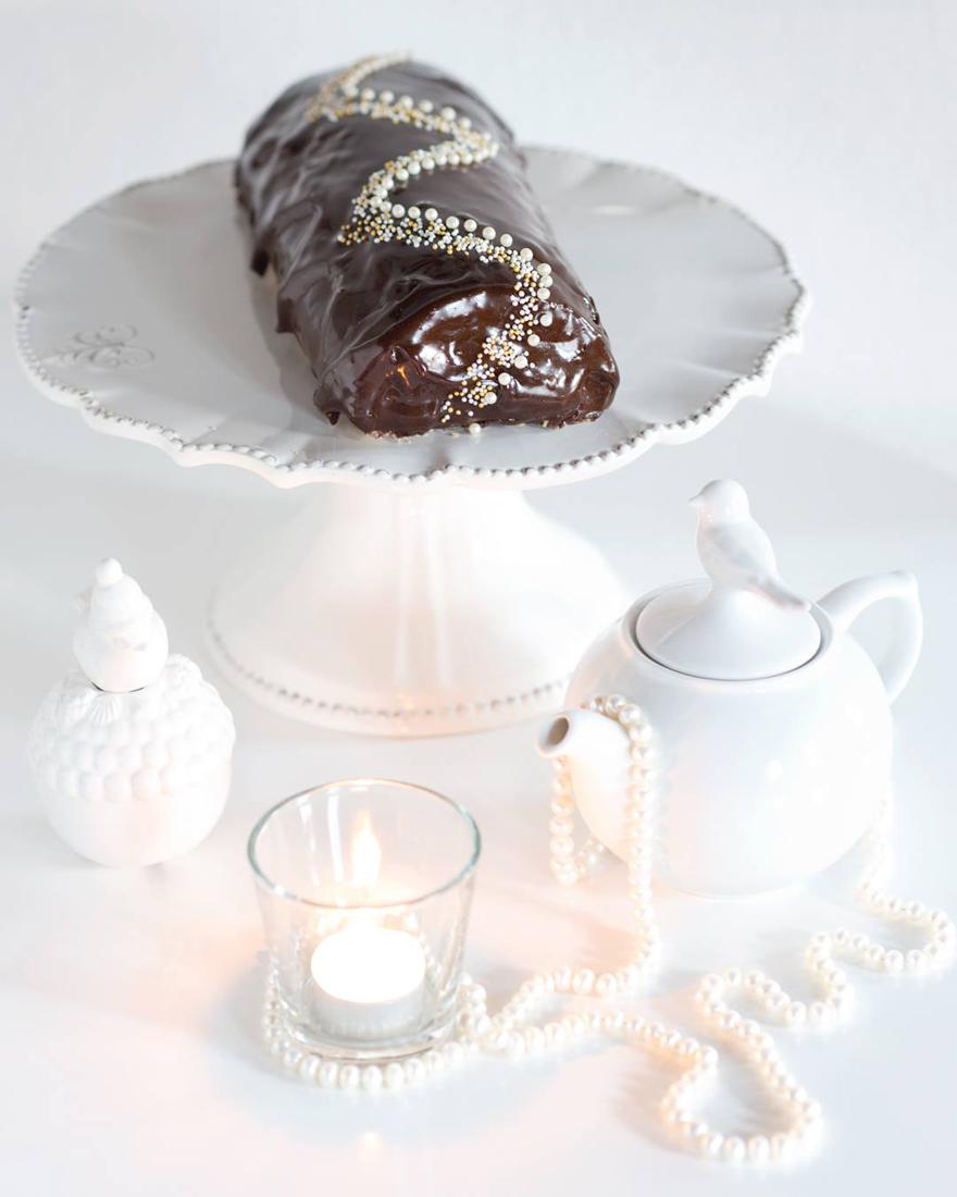 Bûche de Noël sans gluten chocolat marrons © Eugénie Sophie Berger