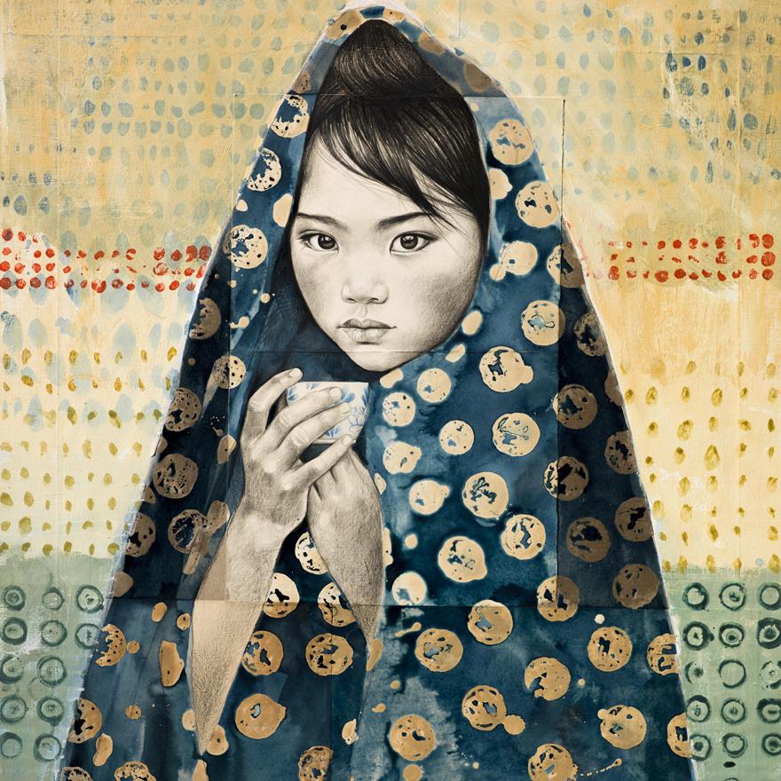 Jeune fille au thé et voile indigo par Stéphanie Ledoux