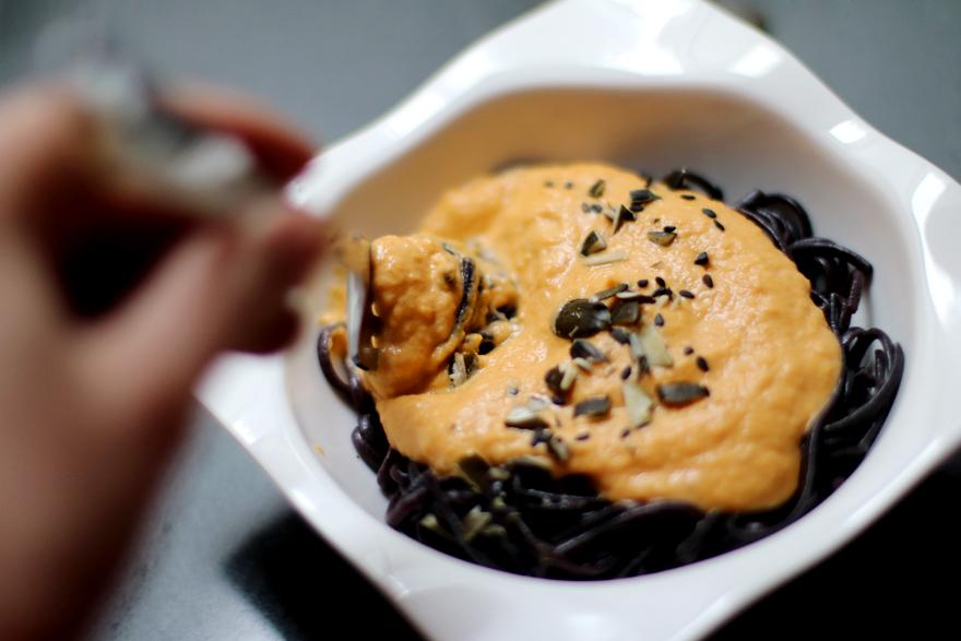 Dégustation spaghetti crème courge-cajou