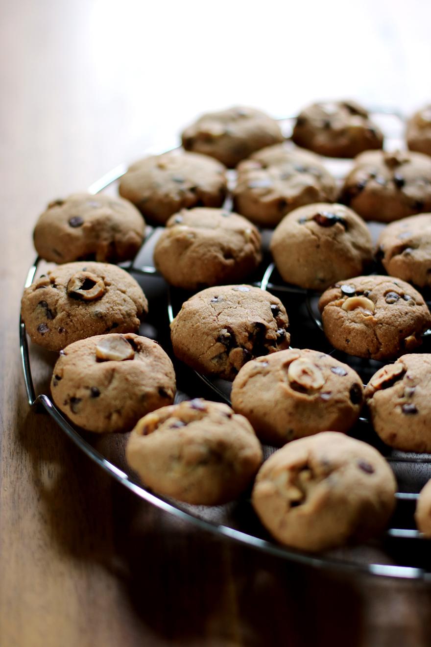 Cookies sans gluten, chocolat, noisette et châtaigne