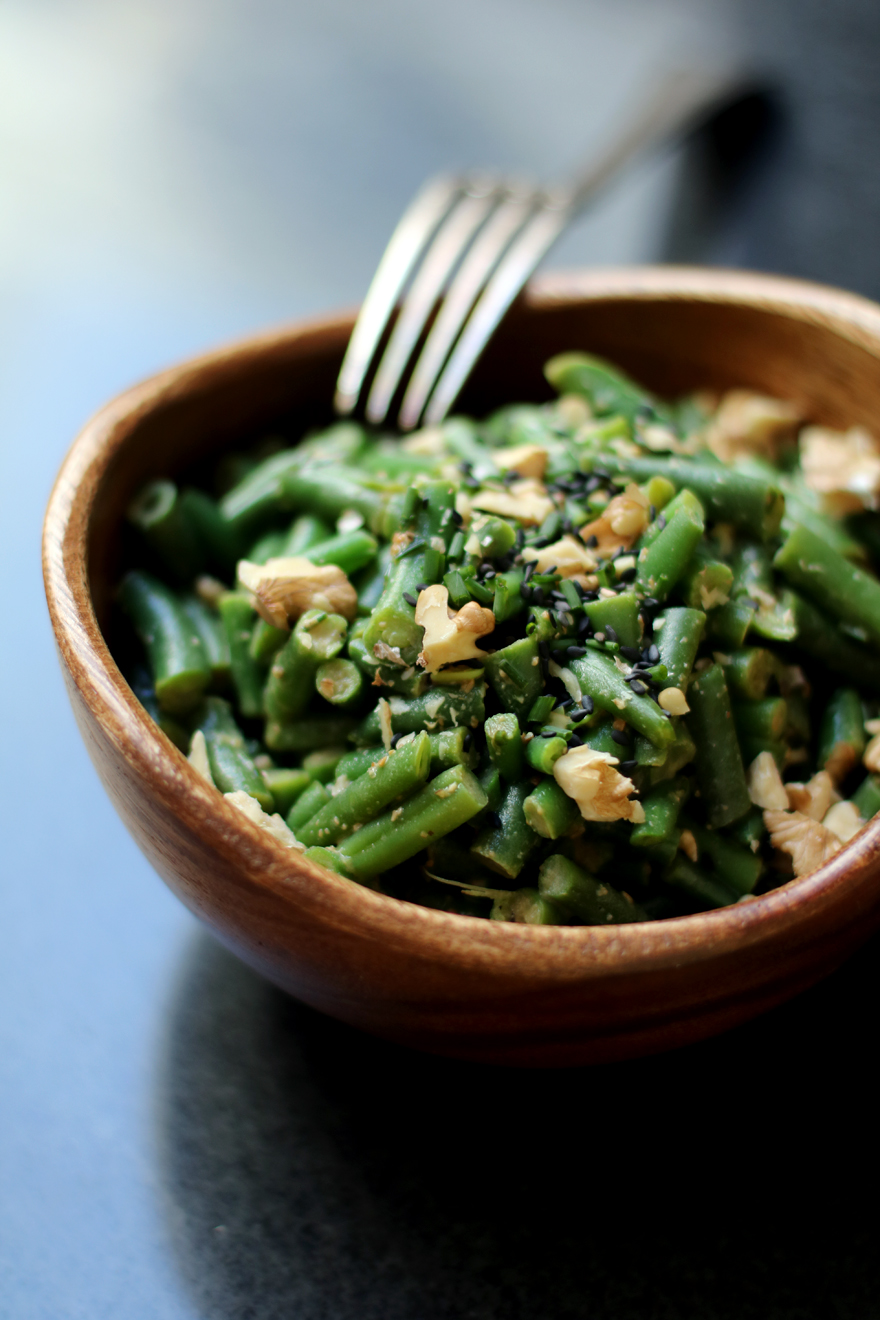 Salade de haricots verts au miso - Green beans salad with miso sauce