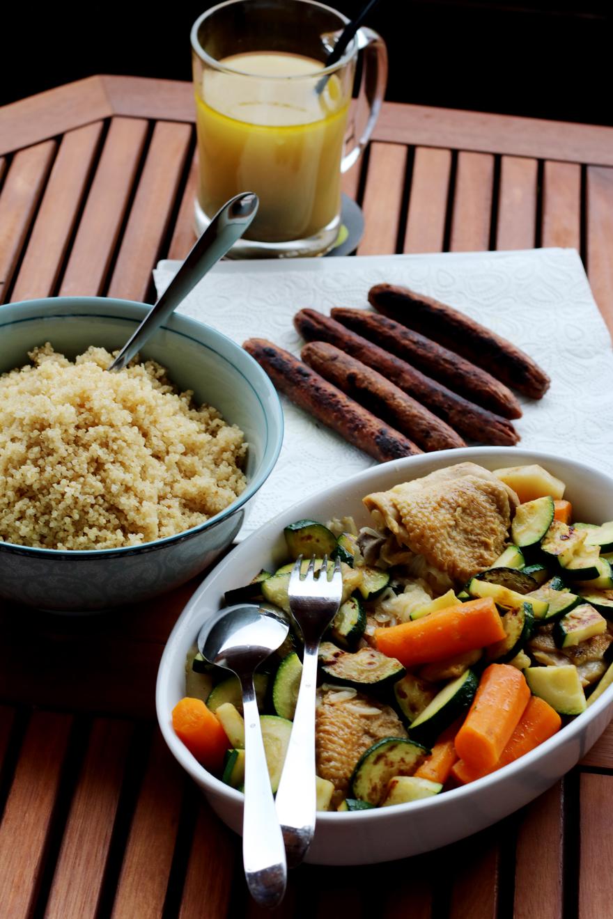 Couscous végétarien avec saucisse végétale