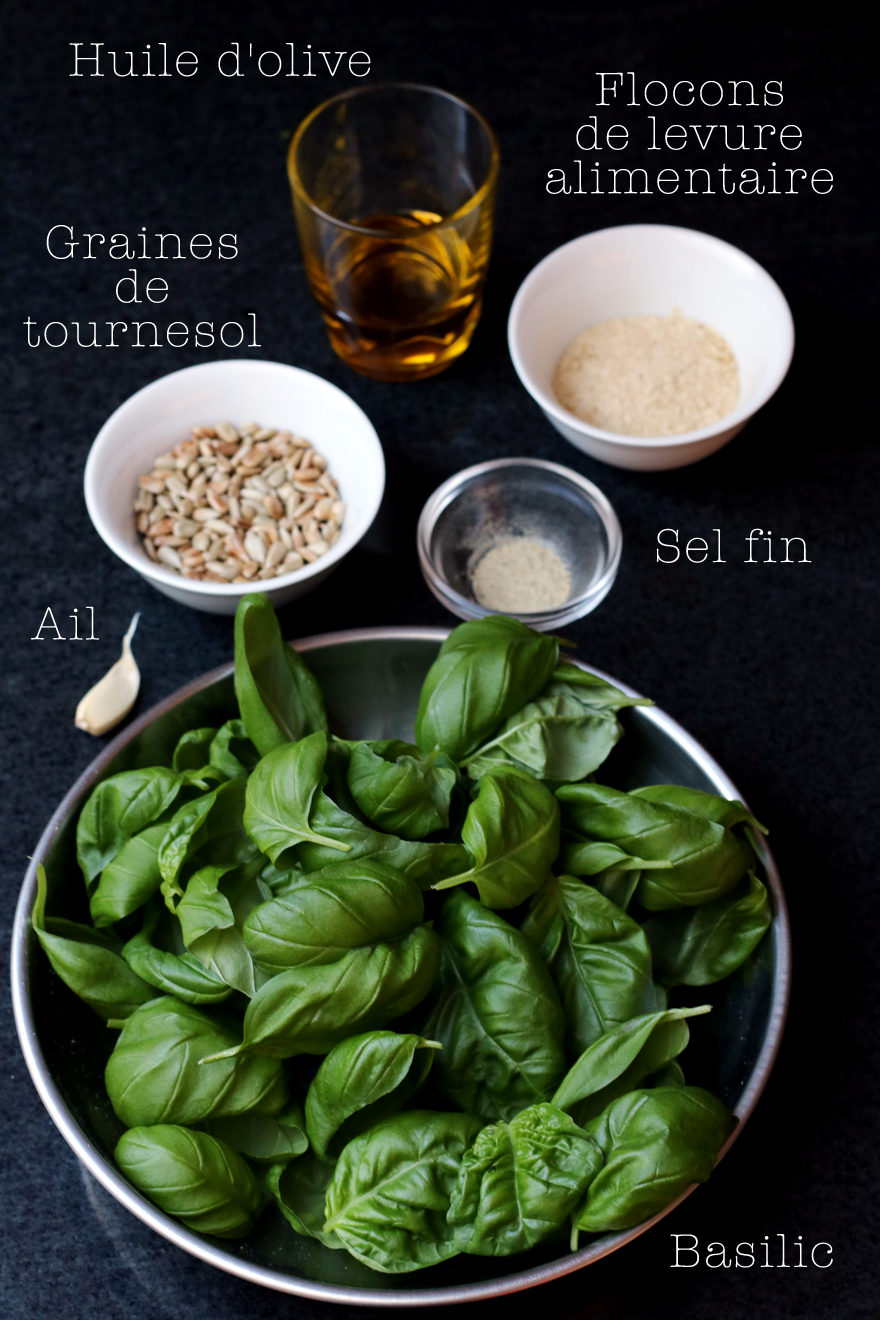 ingredients pesto végétal